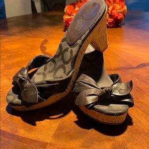 Coach Black Leather Bow Wedges (Karen) - Size 6.5B
